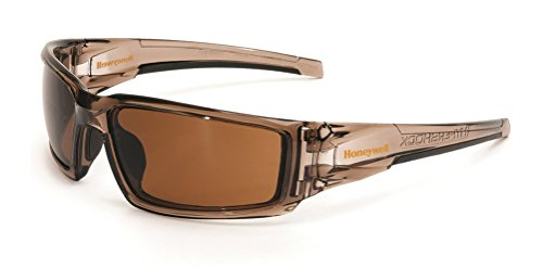 Uvex by Honeywell Hypershock Safety Glasses, Brown Frame with Espresso Lens & Uvextreme Plus Anti-Fog Coating ()