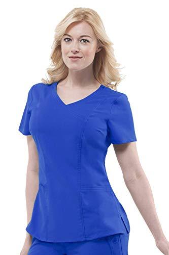 Line Mock Wrap - healing hands Purple Label Women's Jordan 2172 Mock Wrap Scrub Top Scrubs- Galaxy Blue- XS