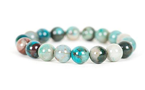 Azurite Malachite Bracelet, Genuine 10mm Azurite Malachite Gemstone Stretch