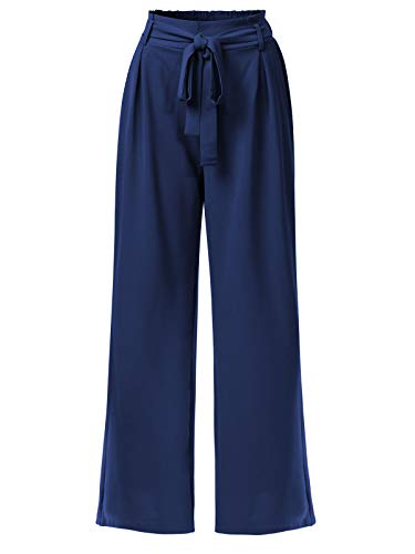 Design by Olivia Women's Solid Waist Self Bow Tie Crepe Long Pants Dark Blue L