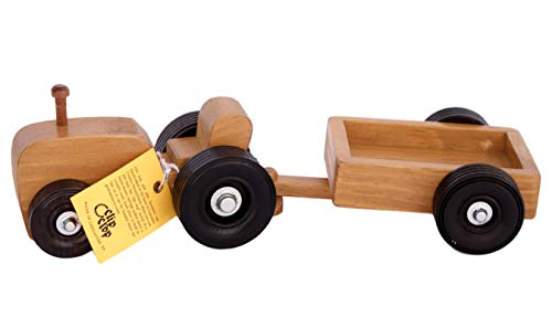 (Amish-Made Wooden Toy Tractor and Wagon Set)