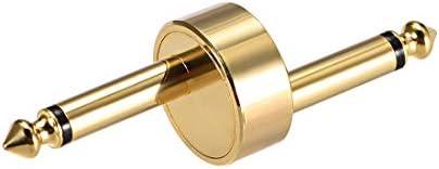 uxcell 6.35mmモノラルオス-オスコネクタ メッキ真鍮 スプリッターオーディオビデオケーブルアダプター ゴールド