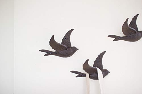 Kalalou CYB1262 CAST IRON FLYING BIRD WALL HOOK,Dark Grey,6.4