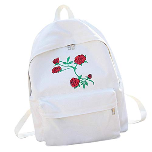 NEWONESUN Bag School Women Embroidery by Backpack Travel White Girls Flowers Bag Canvas qq1wZv