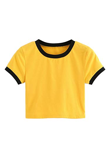 Contrast Ringer - SweatyRocks Women's Cropped Tee Solid Crewneck Short Sleeve Crop Top T-Shirt Yellow#2 Medium