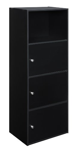 Convenience Concepts Designs2Go X-Tra Storage 3-Door Cabinet, Black