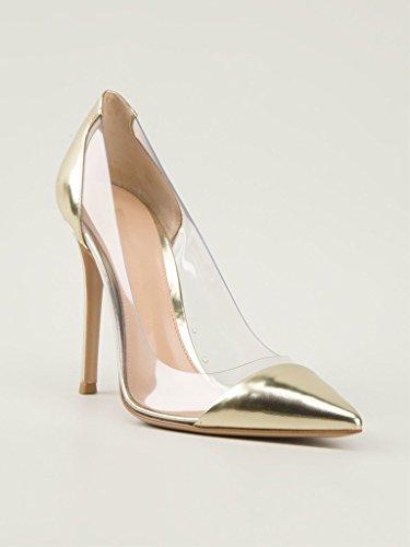 Or Chaussures Bout Fermé A Enfiler Talon Escarpins Pvc Taille Transparent Femmes Aiguille Edefs q1Xw7gz