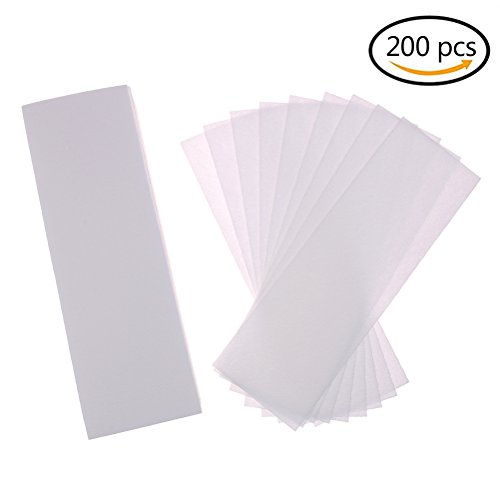 Buytra 200 Pack Hair Removal Waxing Strips Non woven Wax Strips Epilating Strips for Face, Legs, Underarms, Body and Bikini, White
