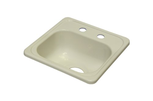 Lyons Industries DBAR09-3.5 Biscuit 15-Inch by 15-Inch Single Bowl Acrylic 6.5-Inch Deep Bar Sink with a 3.5-Inch Drain Opening