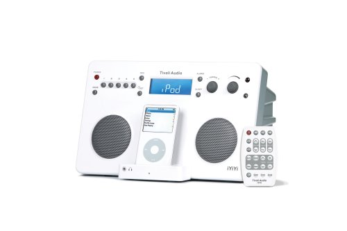 Tivoli iYiYi High-Fidelity AM/FM Stereo System with Alarm Clock and iPod Dock (White/Silver) (Clock Nano Radio Dock With Ipod)