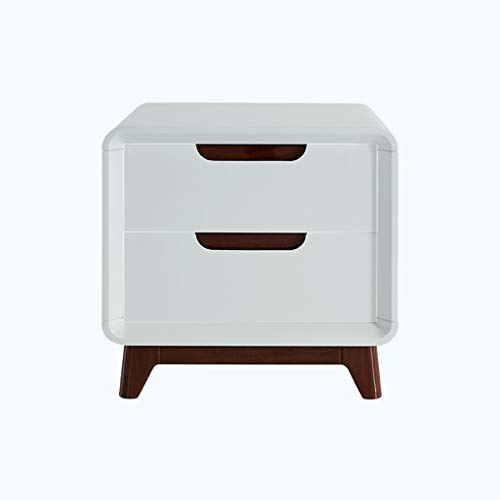 Jia He Nightstand Bedside Tables-Nightstand Bedside Cabinet Wood-Based Panel Fashion Double Drawers Bedside Table/White @@
