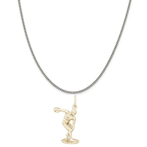 Rembrandt Charms Two-Tone Sterling Silver Discus Charm on a Sterling Silver Curb Chain Necklace, 20