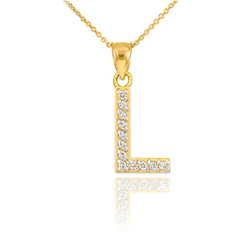 14k Yellow Gold Diamond Initial Pendant Letter L Initial Necklace, 18