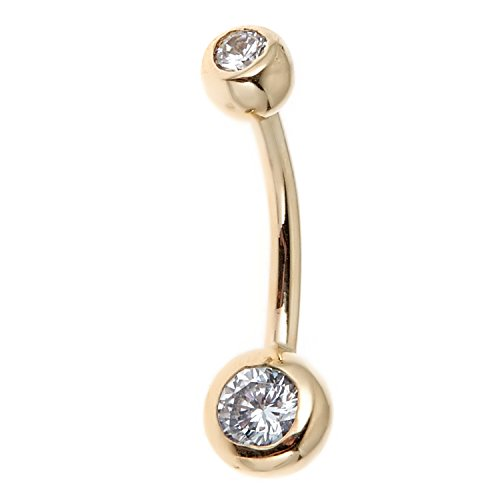 14k Real Gold Bezel CZ Belly Button Navel Ring 14 gauge (Button Ring Gold Belly 14k)