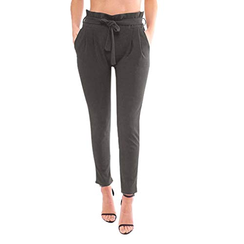 (VEZAD Womens Belted High Waist Pants Ruffle Elastic Capris Trousers with Pockets)