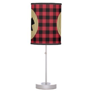 Rustic Bear Lumberjack Buffalo Plaid Desk Lamp with Black Trim