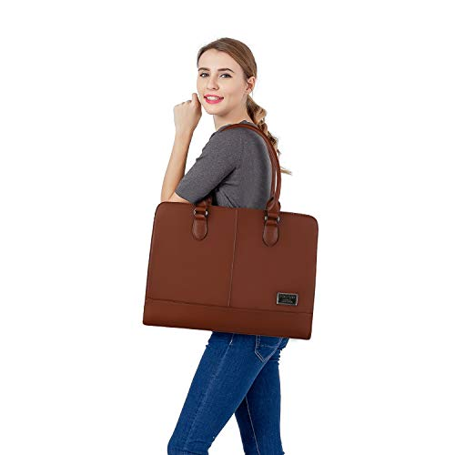 Mosiso Premium PU Leather Laptop Tote Bag Compatible Women (Up to 15.6 Inch), Large Capacity with 3 Layer Compartments Travel Business Work Shoulder Briefcase Handbag, Brown