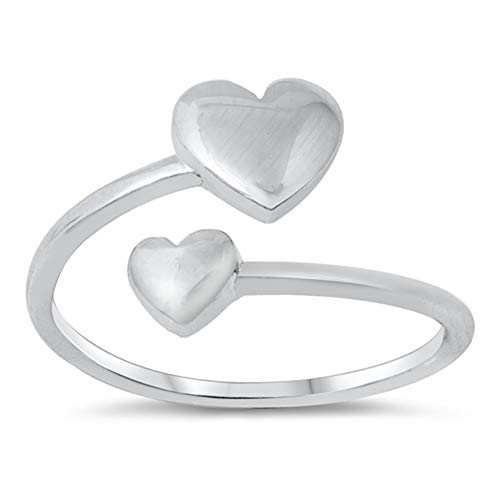 Open Double Puffed Heart Promise Ring New .925 Sterling Silver Band Size 8