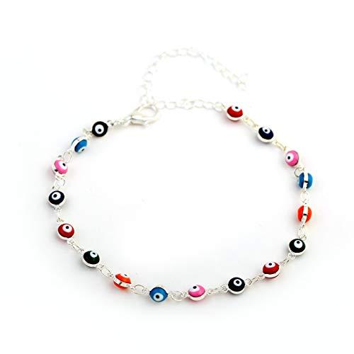 (Boormanie Seven Colors Evil Eye Charm Bracelet Anklet for Women Girl, Silver Plated Good Luck Amulet Kabbalah Greek Nazar Turkish Anklet)