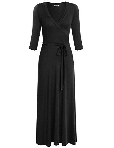 3 Noche 4 V Cuello Mujeres Fiesta Largo Manga Meaneor Vestido Elegante Negro Floral Casual wqCxff