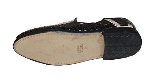 Dona Michi Heren Echte Authentieke Lederen Gesloten Neus Mexicaanse Huarches Sandaal Zwart Beige