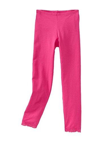 Vivian's Fashions Capri Leggings - Girls, Cotton, Lace Trim(Fuchsia, Large)