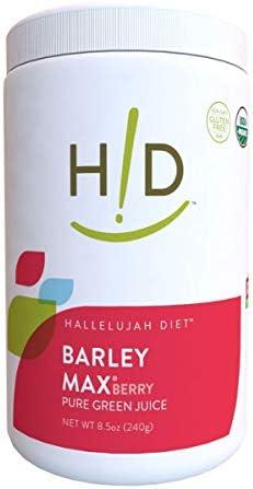 Hallelujah Diet Organic BarleyMax – Barley and Alfalfa Green Juice Powder, Berry Flavor, 8.5 Ounces, 120 Servings