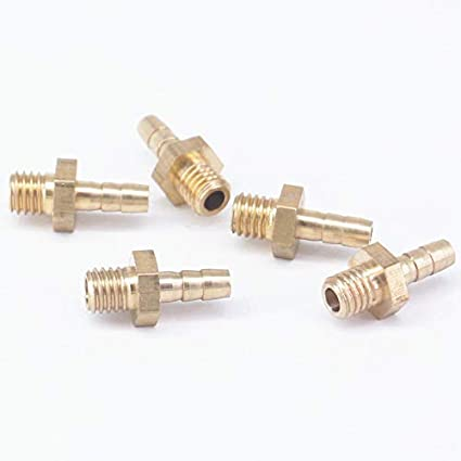 Maslin LOT 5 Hose Barb I/D 3mm x M5 Metric Male Thread Brass coupler Splicer Connector fitting for Fuel Gas Water: Amazon.com: Industrial & Scientific