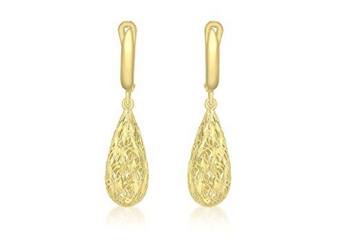 Jewellery World Bague en or jaune 9carats grandes boucles d'oreilles goutte d'eau