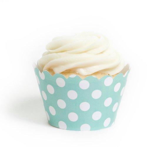 Dress My Cupcake Diamond Blue Polka Dot Cupcake Wrappers, Set of 12