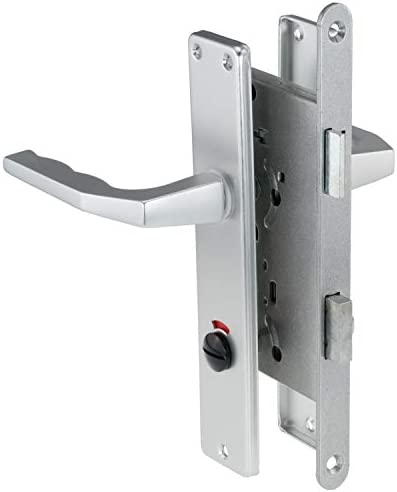 WC-Tür-Schloss Set 18x235 silber abgerundet DIN Links mit Griffen und Blenden F1