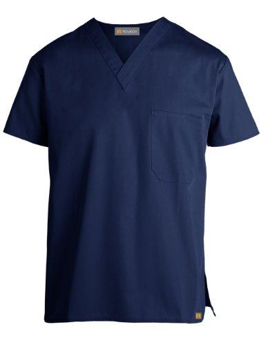 Remedy Scrubs 'Unisex V-Neck One-Pocket Top' Scrub Top Navy Blue X-Small