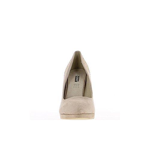 Escarpins taupe à talons de 10,5cm et plateau de 1cm strass