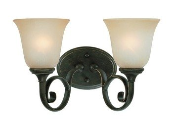 Mocha Bronze Two Light - Craftmade Lighting 24202-MB Barret Place - Two Light Vanity, Mocha Bronze Finish with Etched Painted Glass