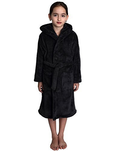 TowelSelections Little Girls' Hooded Plush Robe Soft Fleece Bathrobe Size 6 Charcoal