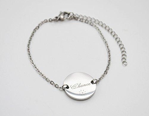 BC1953F - Bracelet Fine Chaîne avec Charm Cercle Chance Acier Argenté - Mode Fantaisie