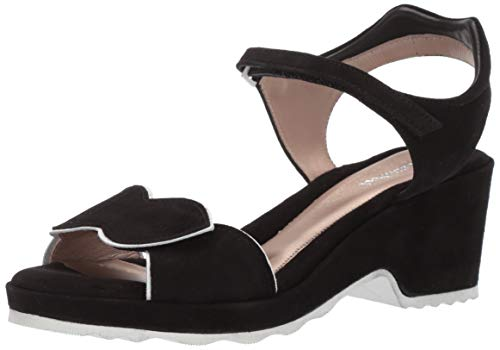 BeautiFeel Women's Emma Wedge Sandal Black Suede White 390 Medium EU (8 US)