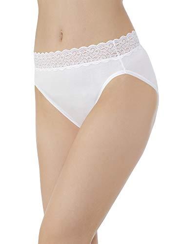Vanity Fair Women's Flattering Lace Cotton Stretch Hi Cut Panty 13395, Star White, 2X-Large/9