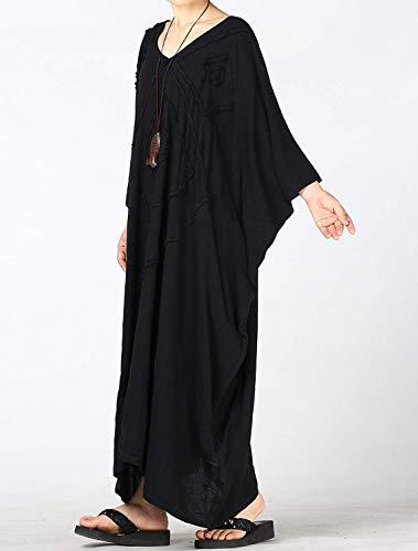 16 Larga Negro Bordado Con Talla Zhrui Manga Mujer Bata Grande Para Tamaño De Uk color Gris Vestir 8qvFaRwZT