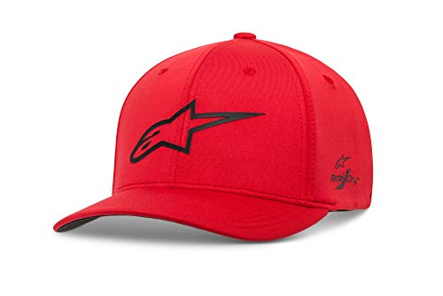 Alpinestars Men's Logo Flexfit tech hat, cuvred Bill Structured Crown, Ageless Sonic hart red/Black, S/M