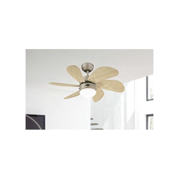 315RTc3YGCL Zeitgemäßer 76 cm Innenraum-Deckenventilator in Titan-Ausführung für Räume bis 10 Quadratmeter Sechs Ahorn-farbene Flügel, für die Leuchte mit Opalmilchglas wird ein 60 Watt Leuchtmittel mit E14-Sockel benötigt (nicht im Lieferumfang enthalten), LED-geeignet Umschalter für Sommer- und Winterbetrieb, Fernbedienung oder Wandschalter nachrüstbar