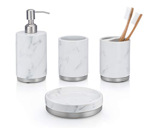 4-Piece White Ceramic Bathroom Accessory Set with Marble Look, Complete Set Includes: Soap/Lotion Dispenser, Toothbrush Holder, Tumbler, and Soap Dish