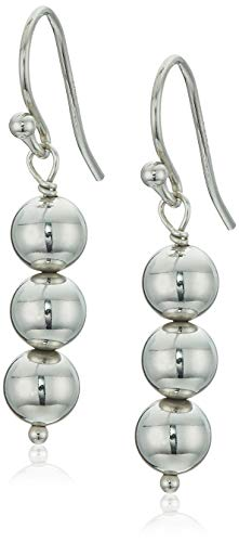 Women's Sterling Silver Triple Drop Earrings, White, One Size