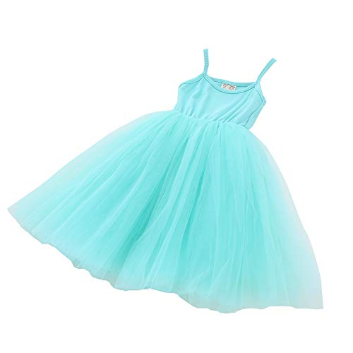 - Baby Girls Tutu Dress Sleeveless Infant Toddler Sundress Tulle Bubble 5 Layers Blue