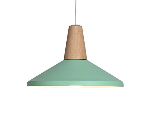 BOKT 60W Edison Lights Modern Industrial Pendant Lamp Colorful Hanging Chandelier Shade Light E26/E27 Base Painted Finish Solid Wood Series Single head (B-Light (Aged Green Table Lamp)
