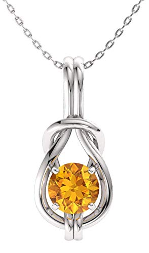 Diamondere Natural and Certified Citrine Infinity Knot Solitaire Necklace in 14k White Gold | 0.42 Carat Pendant with ()