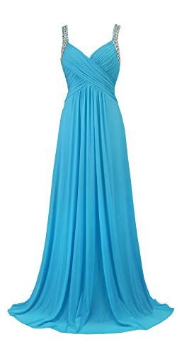 Conail Coco Women's Tulle Beading A-Line Bridesmaid Prom Dresses Long Cocktail Evening Gowns (3XL,77Light Blue)