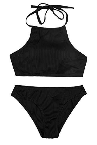 CharmLeaks Woman Ribbed Crop Bikinis High Neck Two Piece Swimsuit Set Black S