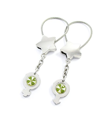 Genuine Four-leaf Lucky Clover Crystal Amber Engravable Key Chain, Gender Themed Valentines Keychains, Male and Female Signs, Adam and Eve! (1. Lucky Stars)