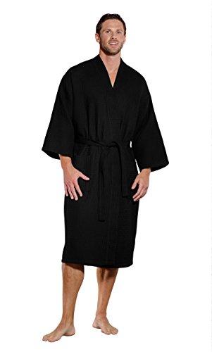 Turquaz Linen Lightweight Long Waffle Kimono Spa Robe for Men (One Size, Black) ()